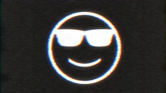 4k - Sunglasses smiley with VHS effect with distortion - stock footage