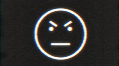 4k - Angry smiley with VHS effect with distortion Stock Footage