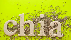 Healthy Chia seeds with chia sign  close-up. Stock Footage