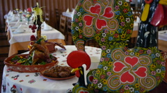 Traditional cuisine of Portugal - Galo de Barcelos. Stock Footage