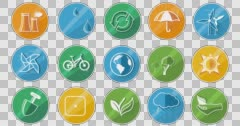 Ecology Concept Icon Set. Alpha Channel Stock Footage