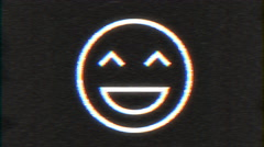4k - Happy smiley with VHS effect with distortion Stock Footage