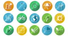 Ecology Concept Icon Set Stock Footage