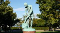 Bronze Statue in Copenhagen Denmark Stock Footage