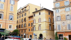 Beautiful Italian buildings architecture in Rome Stock Footage
