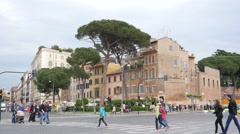 Italy - People walking crossing beautiful Rome architecture buildings street Stock Footage
