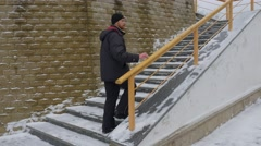 Man Climbing up the Stairs Svyatogorsk Lavra Wintry Landscape Holy Mountains Stock Footage