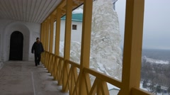 Structures on Upper Tier of Chalk Mountains Holy Mountains Lavra Gate Cave Stock Footage