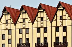 Half-timbered architecture. Fishing Village, Kaliningrad, Russia - stock photo