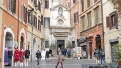 Italy tourists people walking in beautiful Rome architecture buildings square Stock Footage