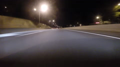 GoPro attached to bumper of car at night 10x speed - 05 Stock Footage