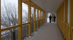 A Man Walks on the Long Terrace. Stock Footage