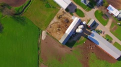 Looking straight down on farms, fields, creek, rural landscape, aerial view Stock Footage