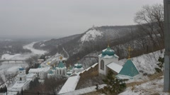 View From Observation Deck Holy Mountains Lavra Landscape River Church Complex Stock Footage