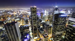 Time Lapse Overview of Twilight Los Angeles City Lights -Pan Right- Stock Footage