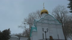 Chapel of St. Nicholas Church Wintry Panorama Holy Mountains Lavra Cave Stock Footage
