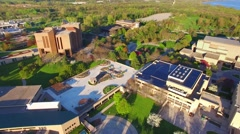Stunning springtime morning aerial view of college campus. Stock Footage