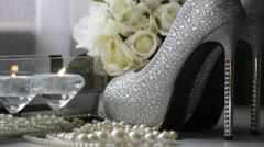 Wedding Shoes, closeup.  Stock Footage