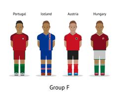 Players kit. Football championship in France 2016. Group F - Portugal, Iceland - stock illustration