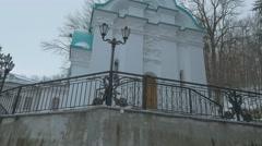 Chapel of St. Nicholas Church Concrete Platform Holy Mountains Lavra Cave Stock Footage