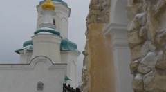 The Upper Part of the Orthodox Church With Golden Crosses Stock Footage