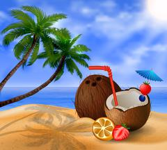Exotic coconut cocktail Stock Illustration