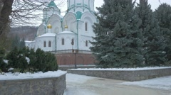 View of the Cathedral of the Assumption in Svyatogorsk Stock Footage