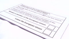 Adult Ticking To Leave The EU British Elections Ballot Paper Stock Footage