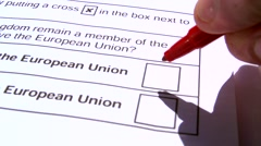 Adult Ticking To Remain In The EU British Elections Ballet Paper - stock footage