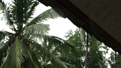 Roof of the forest house under a strong rain shower in the mountains. Slow motio Stock Footage