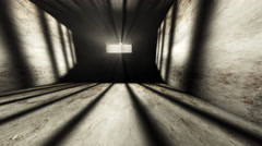 4K Lightrays Shine through Rails in Demolished Solitary Confinement Prison C Stock Footage