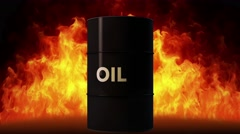 4K Oil Barrel in Raging Fire Oil Price Crisis Concept 2 Stock Footage