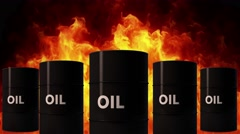4K Oil Barrels in Raging Fire Oil Price Crisis Concept 2 Stock Footage