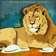 Wild Cats. Lion Stock Illustration
