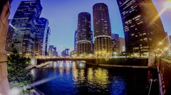 Timelapse of Twin Towers of Marina City at night,Chicago - stock footage