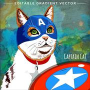 Cats superheroes. Cap America Cat - stock illustration