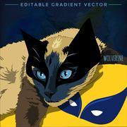 Cats superheroes. Wolverine - stock illustration