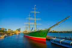HAMBURG, GERMANY - JUNE 08, 2015: Nice colored boat on the Hamburg port Stock Photos