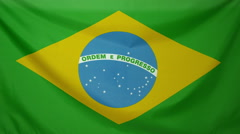 Brasil Flag real fabric Close up 4K - stock footage