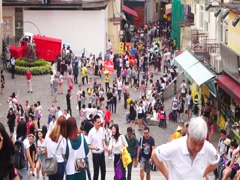 Macao, China: tourists on the streets - stock footage