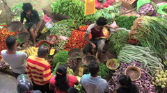 Looking down on selling vegetables at Matara market, SW Coast, Sri Lanka Stock Footage