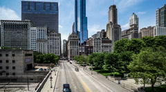 The buildings and traffic in Chicago downtown. Fast forward Stock Footage