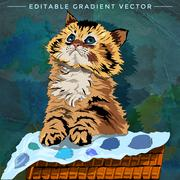 Funny Kitten Illustration - stock illustration