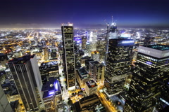 5K Time Lapse Overview of Twilight Los Angeles City Lights  Stock Footage