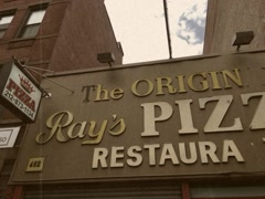 8mm Style Pan of Classic Ray's Pizza in Manhattan New York Stock Video Stock Footage