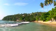 Quiet & beautiful tropical beach, Mirissa, Sri Lanka Stock Footage