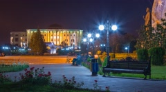 Rudaki park and nation Palace at night in Dushanbe Stock Footage