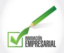 business innovation check mark sign in Spanish - stock illustration