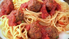 Portion of Spaghetti with Meatballs (seamless loopable; 4K) Stock Footage