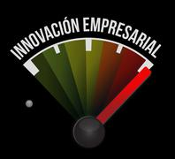 business innovation meter sign in Spanish - stock illustration